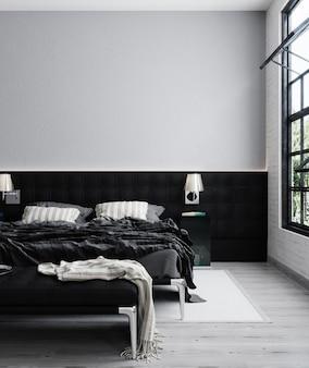 Минималистский современный интерьер спальни, интерьер для макета, 3d-рендеринг