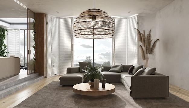 미니멀리스트 모던 인테리어 스칸디나비아 디자인. 베이지 스튜디오 거실. 가벼운 디자인의 대형 모듈 식 소파, 카펫, 안락 의자, 나무 램프, 녹색 식물, 마른 잔디, 장식. 3d 렌더링. 3d 그림.
