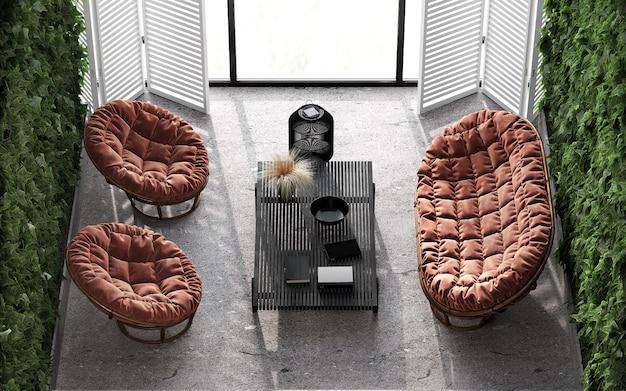 미니멀리스트 모던 인테리어 스칸디나비아 디자인. 밝은 건축 테라스 평면도 구성. 파노라마 창문, 녹색 식물, 돌 바닥. 스칸디, 에스닉 보헤미안 스타일. 3d 렌더링. 3d 그림.