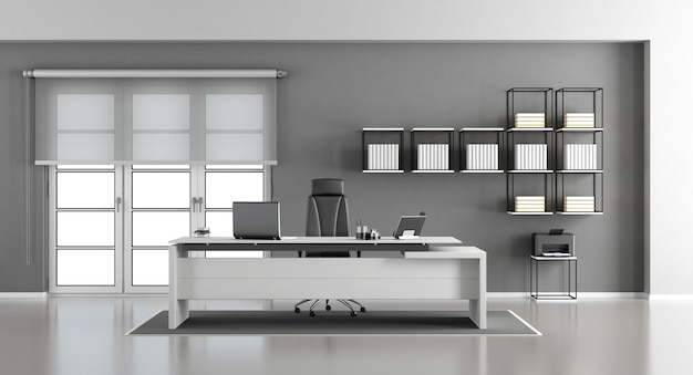 Minimalist modern office desk, office chair, and bookcase