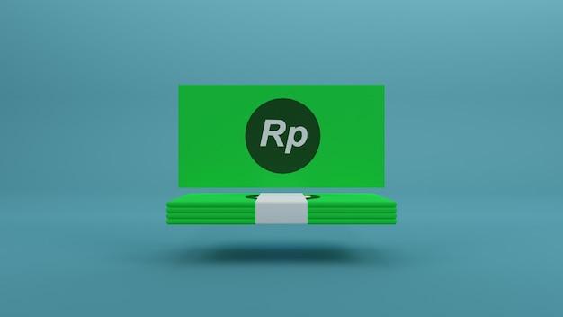 Минималистичная одна пачка денег рупия зеленая бумага яркий фон 3d визуализация