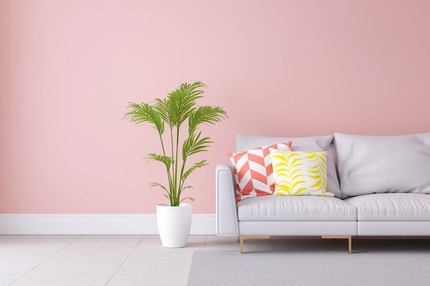 Minimalist pastel color light pink and modern room interior design, summer concept