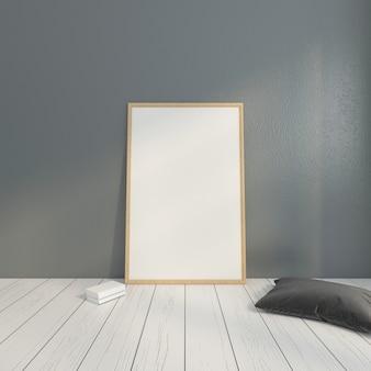 灰色の枕とミニマリストの写真フレーム。 3dレンダリング