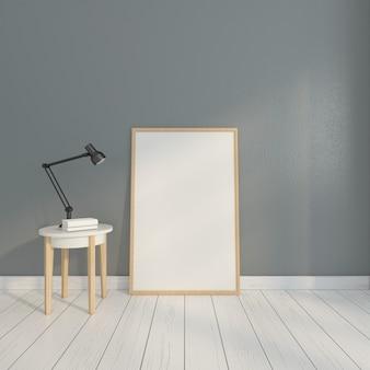 사이드 테이블과 회색 벽이있는 미니멀리스트 액자. 3d 렌더링