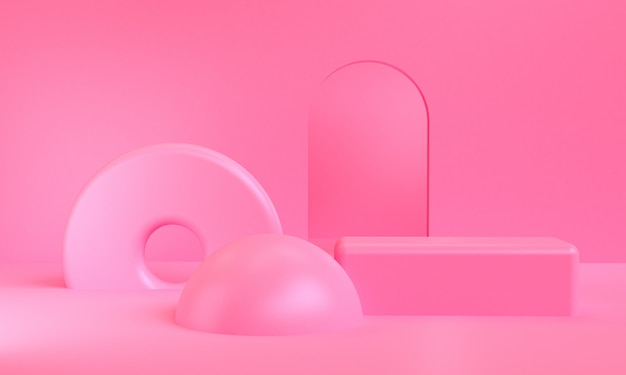 Minimalist pink abstract geometrical, 3d render.