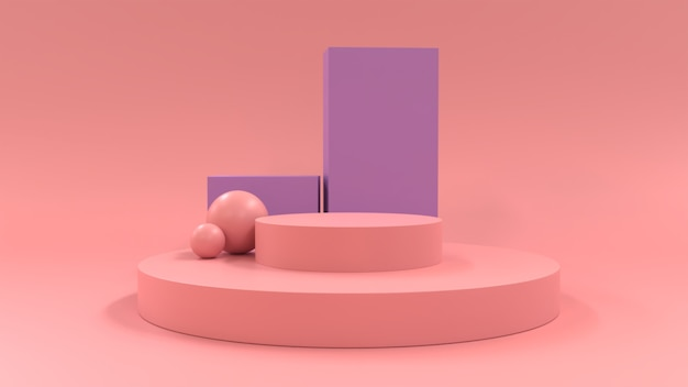 Minimalist podium 3d shapes to display pink product
