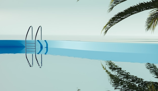 Минималистичная сцена у бассейна с пальмовыми листьями, отражающимися в воде