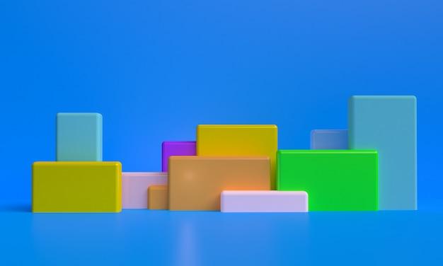 Минималистичный примитивный геометрический абстрактный фон, стильная модная иллюстрация подиум, стенд, витрина в пастельных тонах для премиум-продукта. 3d визуализация.