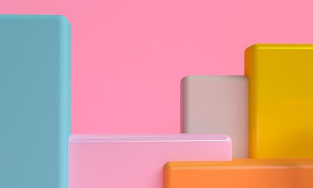 최소한의 기본 기하학적 추상 배경, 세련 된 유행 그림 연단, 스탠드, 프리미엄 제품 파스텔 색상에 쇼케이스. 3d 렌더링