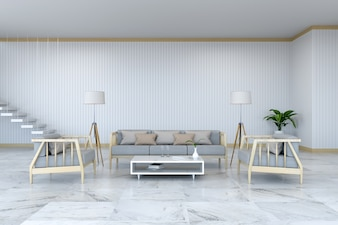 Minimalist room interior design, wood  armchair and sofa on marble  floor and white room /3d render