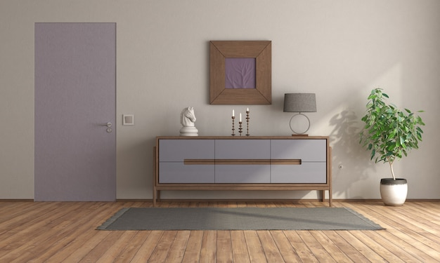 보라색 찬장과 플러시 벽 문이있는 미니멀 룸-3d 렌더링