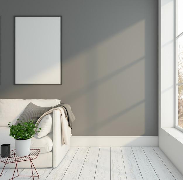 소파 커피 테이블 회색 벽 3d 렌더링 미니멀 룸