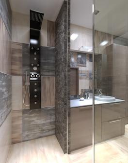 Минималистский душ отделен от ванной комнаты.