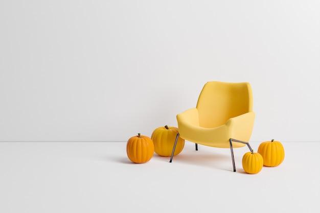 Минималистский диван с тыквами вокруг него на белом фоне с пространством для текста. минимальная осенняя концепция. 3d рендеринг