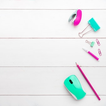 Minimalist top view of office supplies
