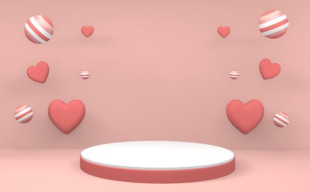 미니멀리스트 발렌타인 핑크 연단 최소한의 디자인 제품 장면. 3d 렌더링