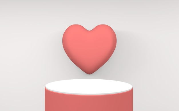 흰색 바탕에 미니 멀 발렌타인 핑크 연단입니다. 3d 렌더링