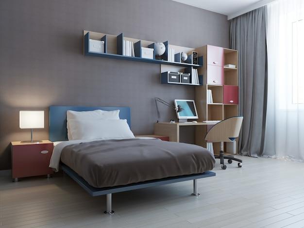현대 침실의 미니멀리스트 벽 시스템.