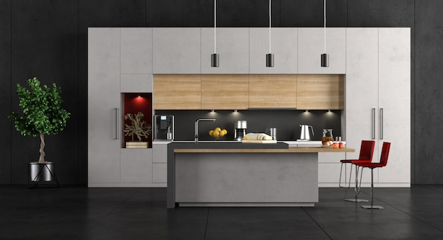 Minimalist white kitchen with concrte island and black walls