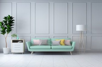 Minimalist white room interior,green armchair and  plant on  white wall  /3d render