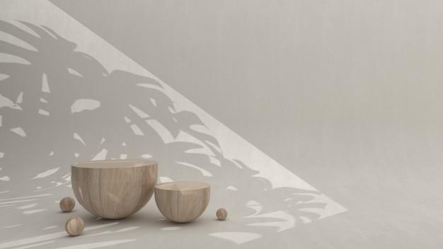 크림 배경, 3d 렌더링, 3d 그림에 대한 제품 프레젠테이션을 위한 미니멀한 나무 연단 장면