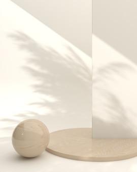 크림 배경, 3d 렌더링, 3d 그림에 대한 제품 프레젠테이션을 위한 추상 구성 디스플레이 장면이 있는 미니멀한 나무 연단
