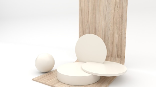 흰색 배경, 3d 렌더링, 3d 그림에 제품 프레젠테이션을 위한 추상 형상 디스플레이 장면이 있는 미니멀한 나무 연단