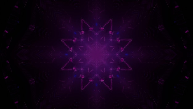 Minimalistic 3d illustration abstract art visual background with glowing neon purple crystal shaped pattern on black space Premium Photo