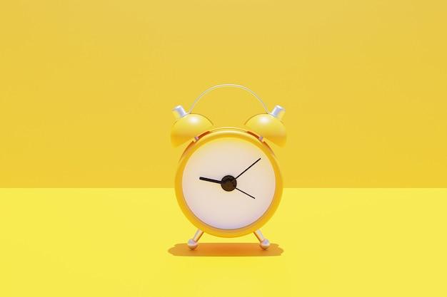 노란색 알람 시계의 최소한의 3d 렌더링입니다.
