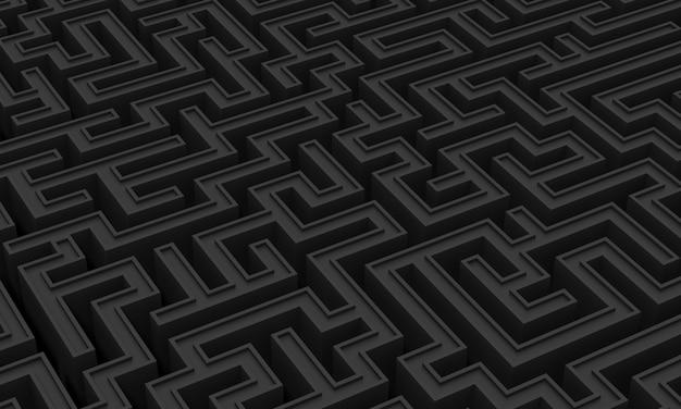 기하학적 미로의 최소한의 검은 톤 배경
