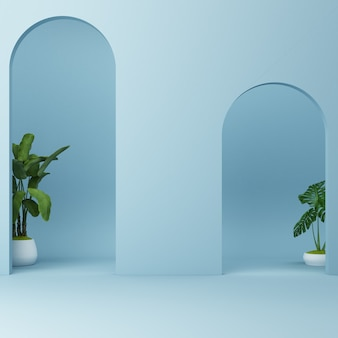 Minimalistic blue arch with plants