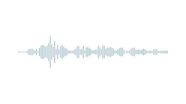 白い背景のイコライザーにミニマルな青いバーの音声グラフィック