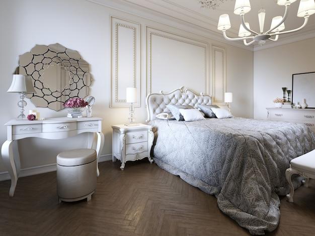 미니멀리즘 클래식 침실, 밝은 인테리어 디자인, 3d 렌더링