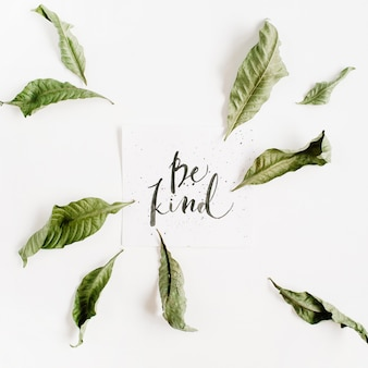 Minimalistic composition with words be kind written in calligraphic style on paper with leaf frame on white surface