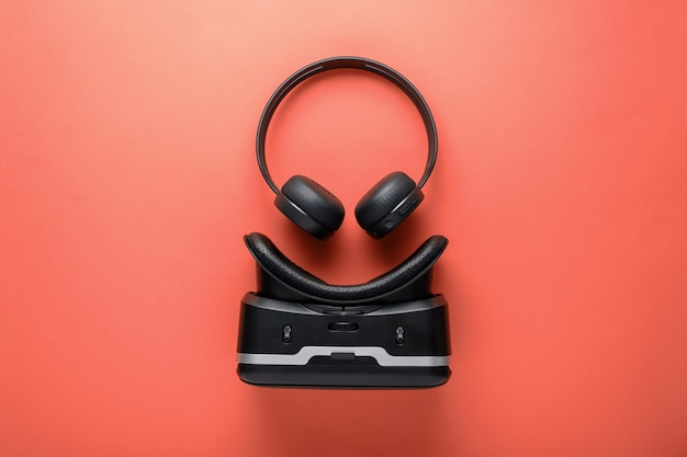 Minimalistic design gadgets, wireless headphones and vr glasses