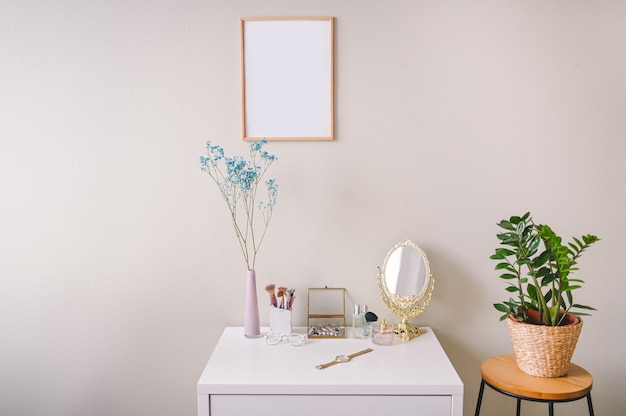 Minimalistic female still life workplace composition pastel colors