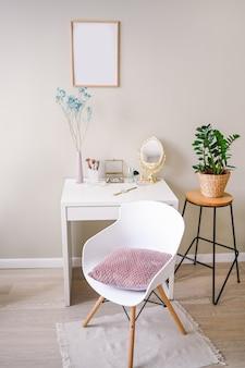 Minimalistic female still life workplace interior pastel colors