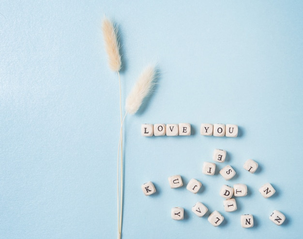 흰색 말린 꽃과 흩어져있는 큐브가 파란색 배경에 당신을 사랑합니다. 발렌타인 데이, 어머니의 날, 결혼식의 개념. 평면도 및 복사 공간