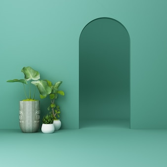 Minimalistic green arch with plants