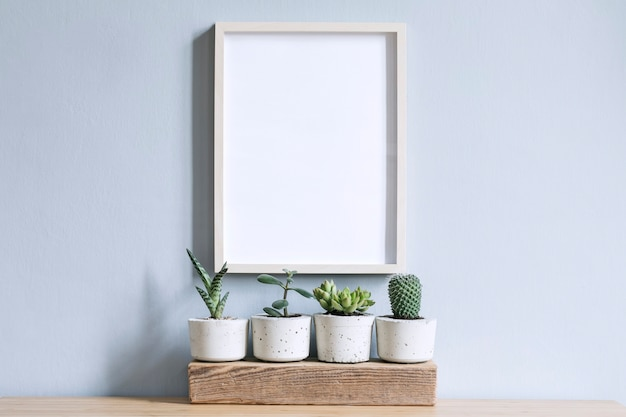 Minimalistic home interior with photo frame on the brown table with composition of cacti and succulents on the wooden piece in stylish cement pots