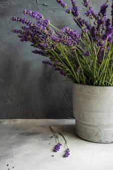 Minimalistic interior decor with lavandula flowers