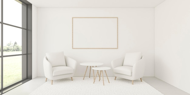 Минималистичный интерьер с элегантной рамой и креслами