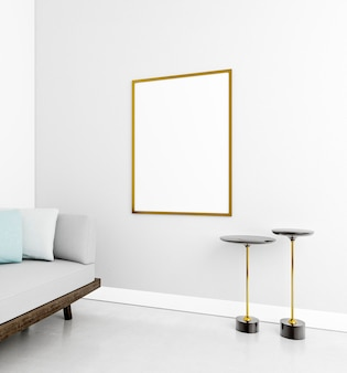 Минималистичный интерьер с элегантной рамой и диваном