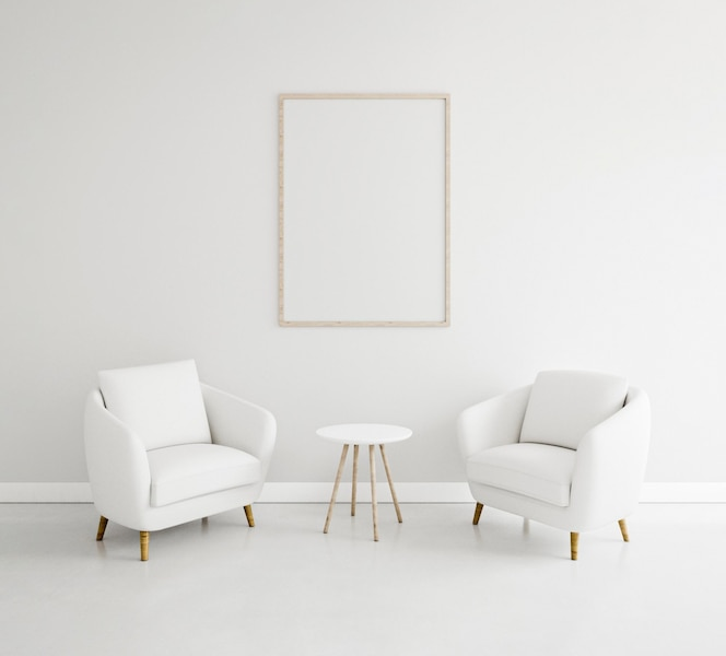 Minimalistic interior with elegant frame and armchairs