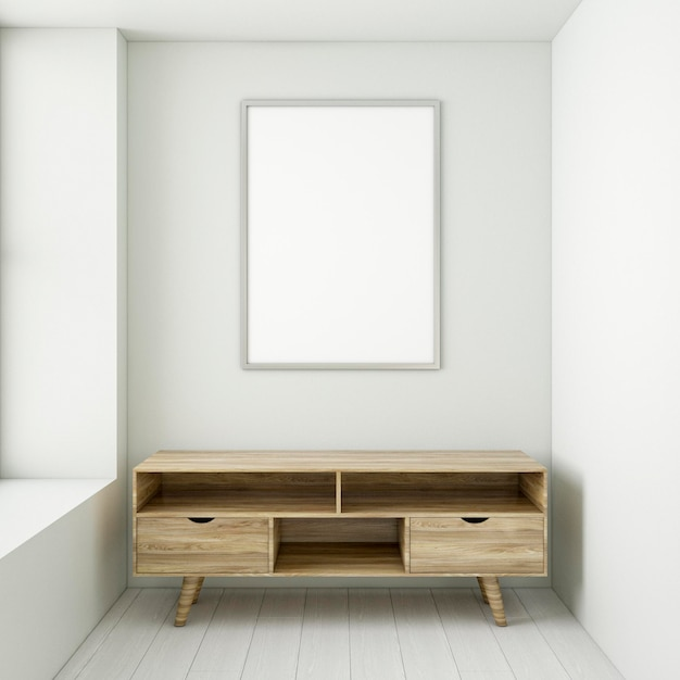 Minimalistic interior with elegant frame and desk