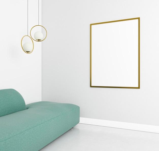 Minimalistic interior with elegant frame and sofa