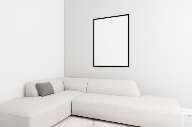 Minimalistic interior with elegant frame and sofa
