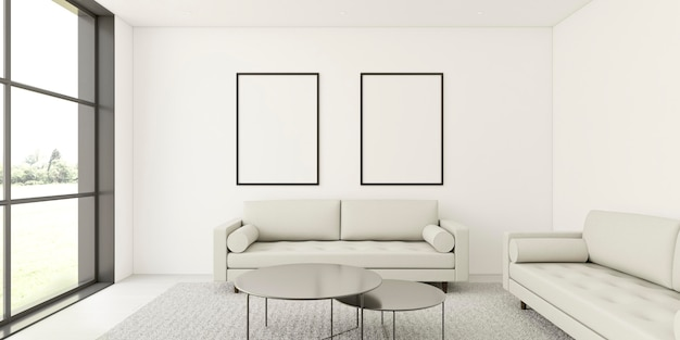 Minimalistic interior with elegant frames and sofa