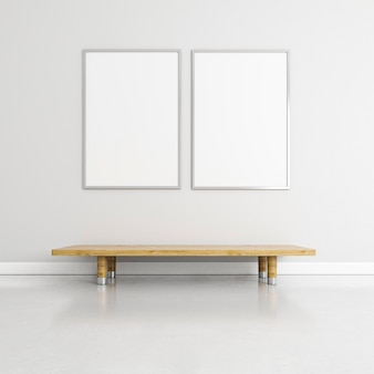 Minimalistic interior with elegant frames and table