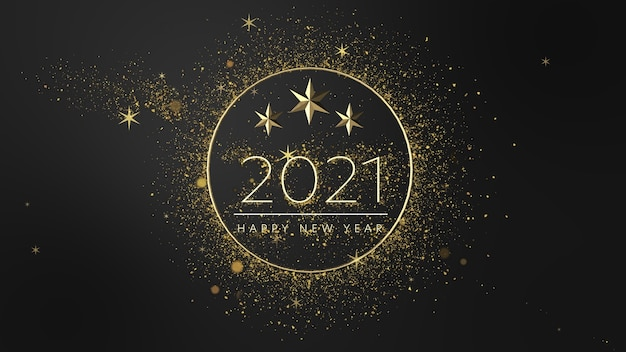 Minimalistic luxury new year 2021 concept. dust gold shiny glowing particles.